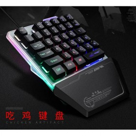 Single Hand Gaming Keyboard RGB - G40 - Black