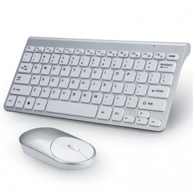 Powstro Wireless Mini Keyboard + Mouse Combo - XII-MK802 - Silver