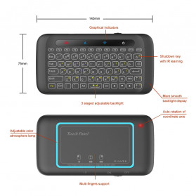 WeChip Mini Wireless Keyboard Air Mouse with Touch Pad - H20 - Black - 6