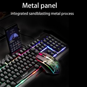 HXB Combo Keyboard Gaming RGB with Mouse + Holder Smartphone - T21 - Black - 2