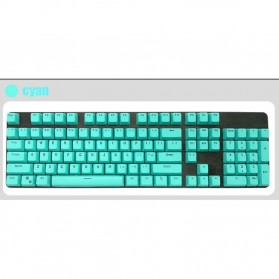 PBT Keycaps Mechanical Keyboard PBT 104 Keys English for Cherry MX Switch - Cyan - 1