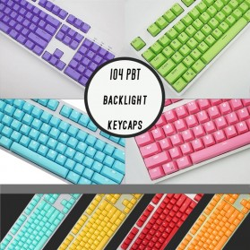 PBT Keycaps Mechanical Keyboard PBT 104 Keys English for Cherry MX Switch - Cyan - 8