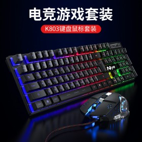 NIYE Gaming Keyboard RGB LED with Mouse - K803 - Black - 3
