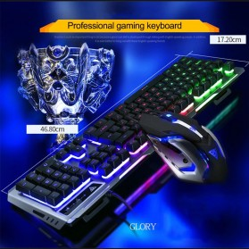 SIAOEL Combo Gaming Keyboard RGB Mechanical Feel with Mouse - V1 - Black - 10