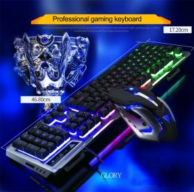 SIAOEL Combo Gaming Keyboard RGB Mechanical Feel with Mouse - V1 - Black - 2