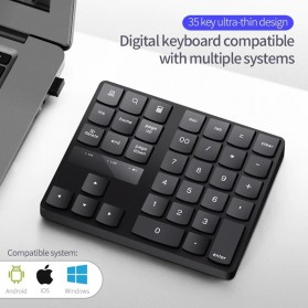 BEESCLOVER Keypad Numeric Multimedia  Wireless 2.4GHz 35 Buttons - R57 - Black