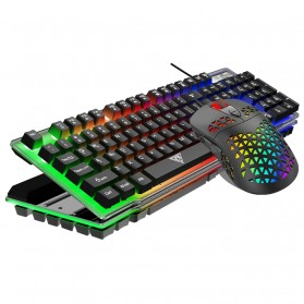 HXB Combo Gaming Keyboard RGB LED with Mouse - V4 - Black