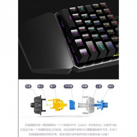 INKER Single Hand Mechanical Gaming Keyboard RGB - K9 - Black - 6