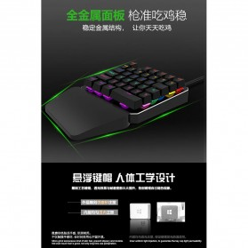 INKER Single Hand Mechanical Gaming Keyboard RGB - K9 - Black - 8