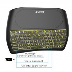 VONTAR Keyboard Wireless Mini Backlight dengan Touchpad - D8 - Black - 2