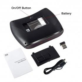 VONTAR Keyboard Wireless Mini Backlight dengan Touchpad - D8 - Black - 5