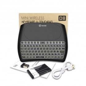 VONTAR Keyboard Wireless Mini Backlight dengan Touchpad - D8 - Black - 8