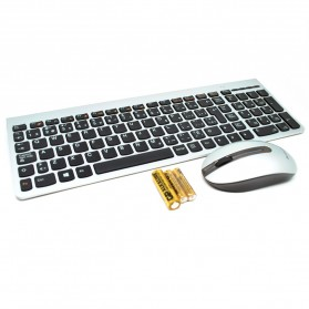 Lenovo Ultraslim Plus Wireless Keyboard and Mouse SM-8861 Lang English French - Silver
