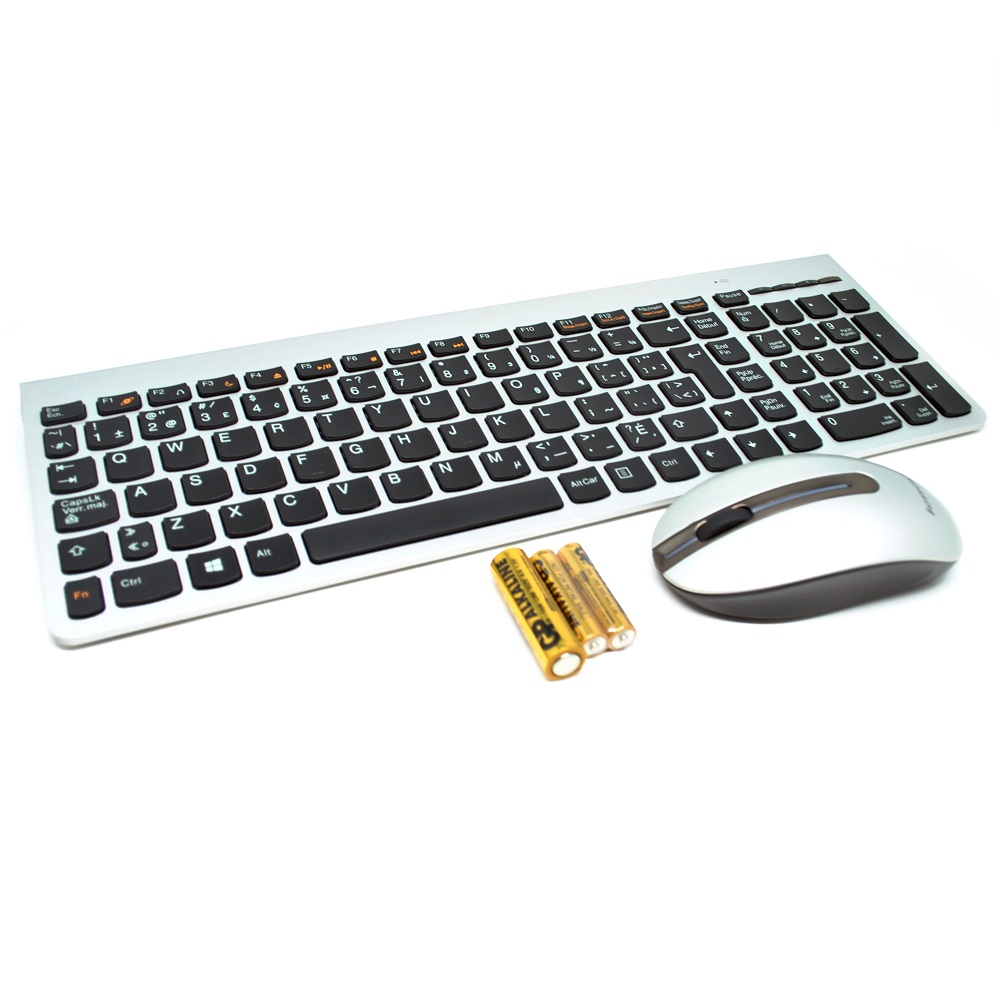 Lenovo Ultraslim Plus Wireless Keyboard And Mouse Sm 8861 Lang Optic Laser Usb 5 Tombol English French Silver