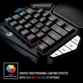 GameSir Z1 Single Hand Bluetooth Mechanical Gaming Keyboard RGB 33 Keys Kailh Blue - Black - 8