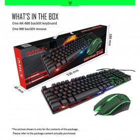 iMice Gaming Keyboard Mouse Combo Rainbow Backlit RGB - MK-680 - Black - 2