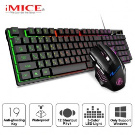 Keyboard Gaming - iMice Gaming Keyboard Mouse Combo Rainbow Backlit RGB - AN-300 - Black