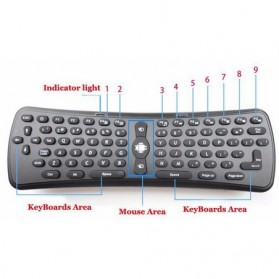 Air Mouse Keyboard Wireless 2.4Ghz Gyroscope - Black - 6
