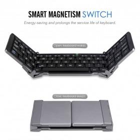 Keyboard Bluetooth Three Folding Magnetic - Silver - 2