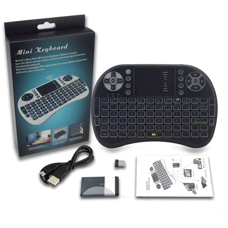 ca12f7a3720 ... Air Mouse Wireless Keyboard RGB 2.4GHz Dengan Touch Pad - I8-3C - Black  ...
