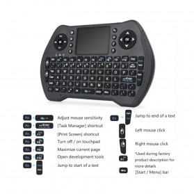 Keyboard Wireless 2.4GHz with Touchpad - MT10 - Black - 2