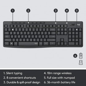 Logitech Silent Wireless Keyboard with Mouse Combo - MK295 - Black - 5