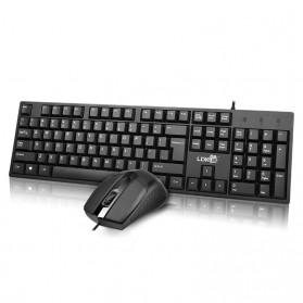 LDKAI Wired Keyboard Mouse Combo Set Ergonomic - LDK-1700 - Black