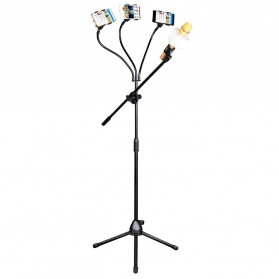 Microphone Standing Holder Tripod with 3 x Smartphone Holder - NB-04 - Black