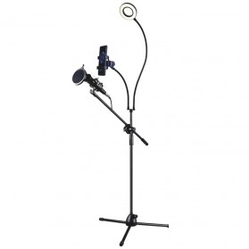 Microphone Standing Holder Tripod with Smartphone Holder & Ring Light - D02B - Black