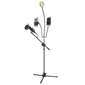 Microphone Standing Holder Tripod with 2 x Smartphone Holder & Ring Light - NB-03B - Black