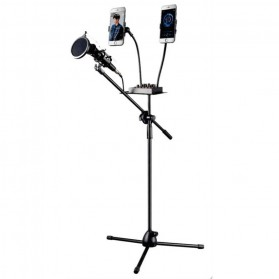 Microphone Standing Holder Tripod with 2 x Smartphone Holder - NB-03P - Black