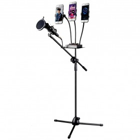 TaffSTUDIO Microphone Standing Holder Tripod with 3 x Smartphone Holder - NB-04P - Black