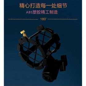 TaffSTUDIO Microphone Standing Holder Tripod with 3 x Smartphone Holder - NB-04P - Black - 2