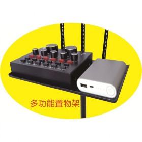 TaffSTUDIO Microphone Standing Holder Tripod with 3 x Smartphone Holder - NB-04P - Black - 7