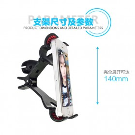 Microphone Standing Holder Tripod with 2 x Smartphone Holder - D09 - Black - 9