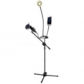 Microphone Standing Holder Tripod with Smartphone Holder & Ring Light - D02BP - Black