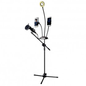 Microphone Standing Holder Tripod with 2 x Smartphone Holder & Ring Light - D03BP - Black