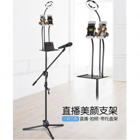 Microphone Standing Holder Tripod with 2 x Smartphone Holder & Ring Light - D03BP - Black - 6