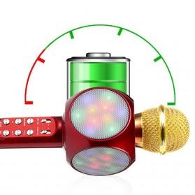 Wireless Karaoke KTV Mikrofon dan Speaker Bluetooth LED - WS1816 - Black - 3