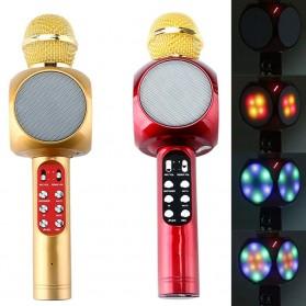 Wireless Karaoke KTV Mikrofon dan Speaker Bluetooth LED - WS1816 - Black - 4