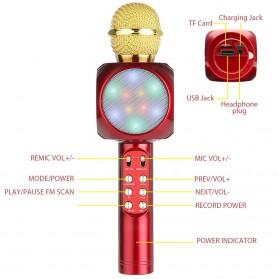 Wireless Karaoke KTV Mikrofon dan Speaker Bluetooth LED - WS1816 - Black - 7
