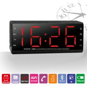 Jam Alarm Wireless Bluetooth Speaker FM Radio Clock - MX-20 - Black - 3