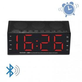 Jam Alarm Wireless Bluetooth Speaker FM Radio Clock - MX-20 - Black - 4