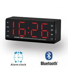 Jam Alarm Wireless Bluetooth Speaker FM Radio Clock - MX-20 - Black - 5