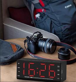 Jam Alarm Wireless Bluetooth Speaker FM Radio Clock - MX-20 - Black - 6
