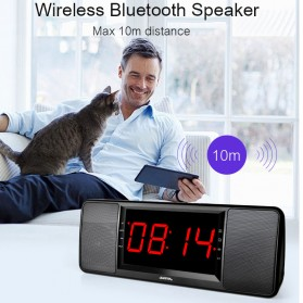 Jam Alarm Wireless Bluetooth Speaker FM Radio with Remote Control - 720B - Black - 6