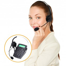 Voicejoy Telephone Desk HT500 with Headset Handsfree Call Center VH500 - Black