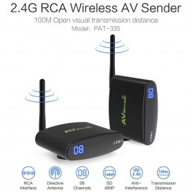 PAKITE RCA AV Sender Audio Video Wireless Transmitter Receiver 2.4GHz 100M - PAT-335 - Black