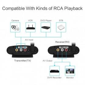PAKITE RCA AV Sender Audio Video Wireless Transmitter Receiver 2.4GHz 100M - PAT-335 - Black - 4