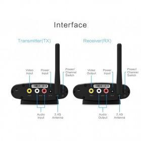 PAKITE RCA AV Sender Audio Video Wireless Transmitter Receiver 2.4GHz 100M - PAT-335 - Black - 7